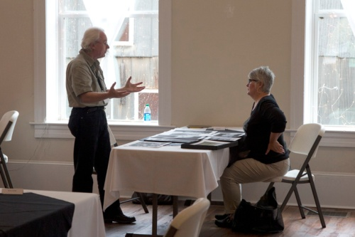Sue Henry with Dennis Kiel during her portfolio review.  Concord GA